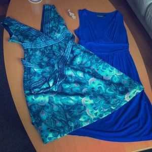 (2) dresses and statement ring - peacock & blue